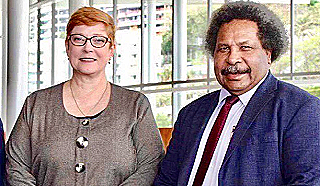 Australia's Foreign Minister Marise Payne with PNG counterpart Soroi Eoe  who enjoys better access to China than Australia (ABC)