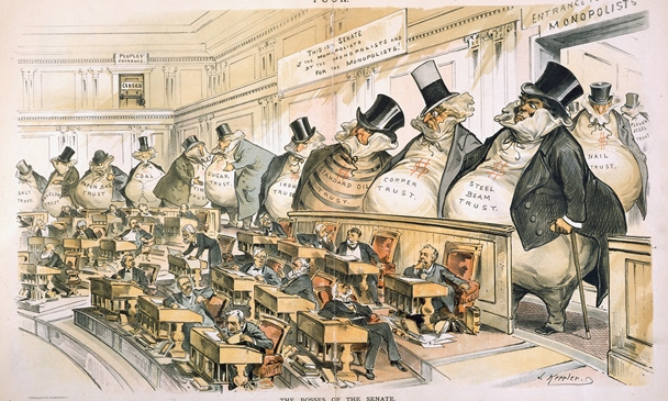 """""""The Bosses of the Senate """" by J. Ottmann Lith. Co. after Joseph Keppler Puck Lithograph  colored  1889-01-23 From the collection of the U.S. Senate"""