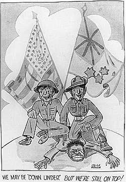 WW2 cartoon_of_American_and_Australian_troops_against_a_common_enemy