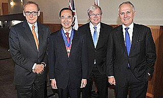 Bob Carr  ex Singapore foreign minister George Yeo  Kevin Rudd  Malcolm Turnbull