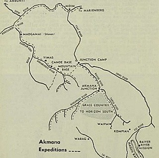 Map of the area the expedition followed in search for gold