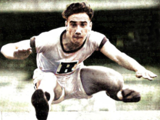 Fred competing for Sydney Boys High School in the GPS open hurdles  1937 (High Bulletin)