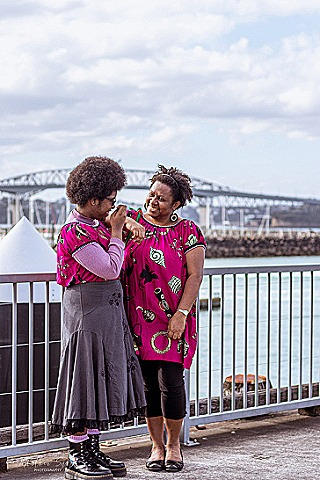 Bee and daughter with Auckland Harbour bridge in background  December 2020
