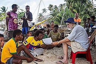 Dr Harry Beran interviewing residents of Egum Islet  Milne Bay  2017 (Luke Wong)