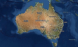 Map showing locations of Australia's colonial massacres