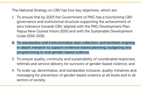 4 objectives of the national GBV strategy