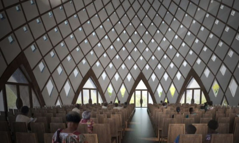 Artist's mpression of the Baha'i house of worship now under construction in Port Moresby
