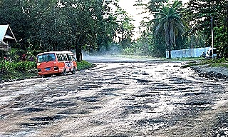 An unmaintained road in Lae  PNG's second largest city