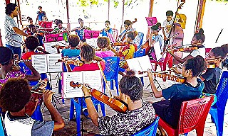 Orchestra at a practice session